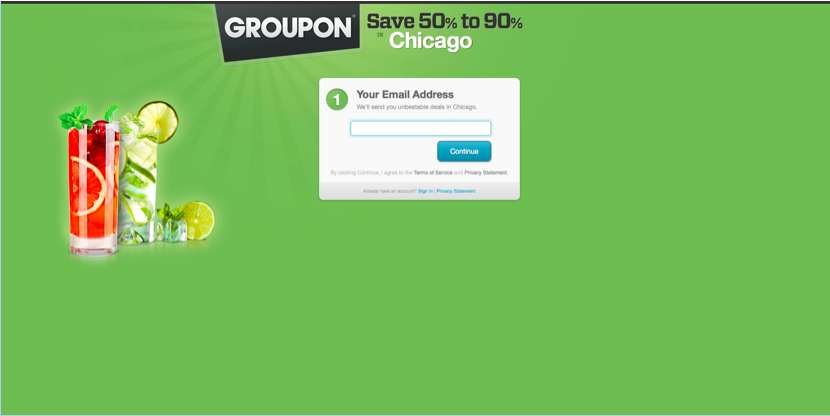 Groupon registration form