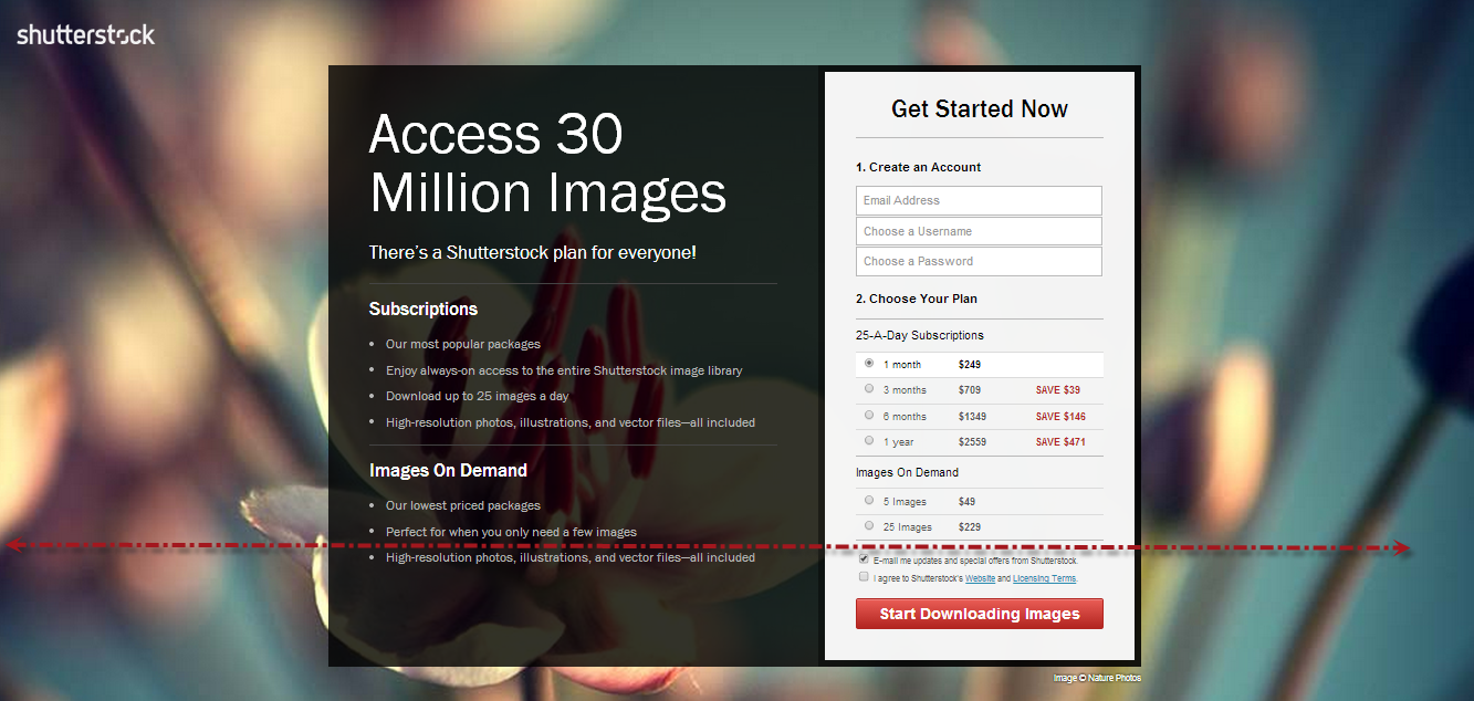 Shutterstock call to action