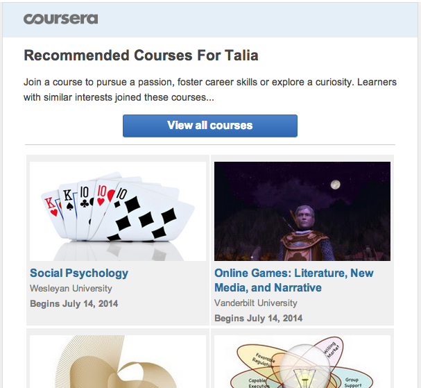 Coursera newsletter