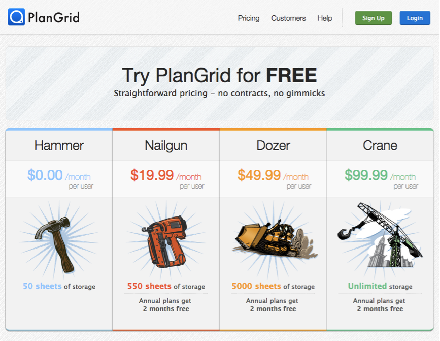 PlanGrid pricing page