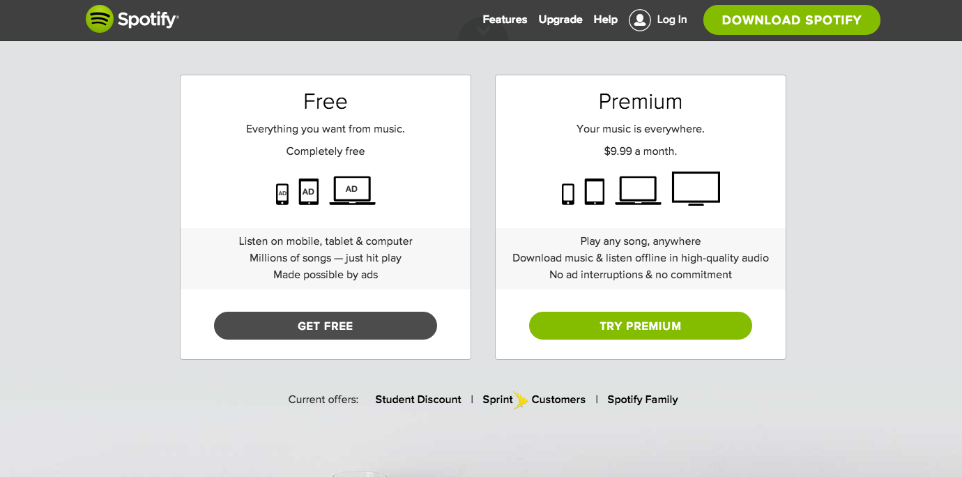 Spotify pricing page