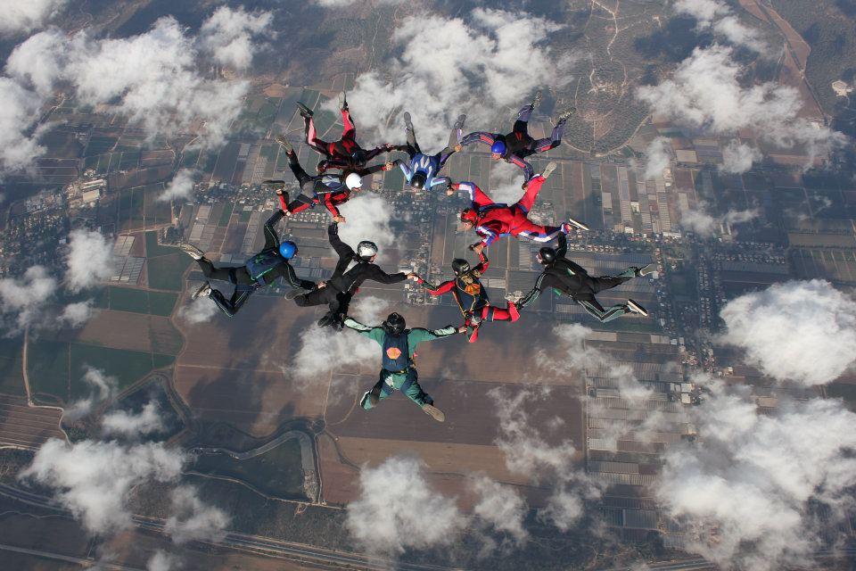 Skydiving above Israel