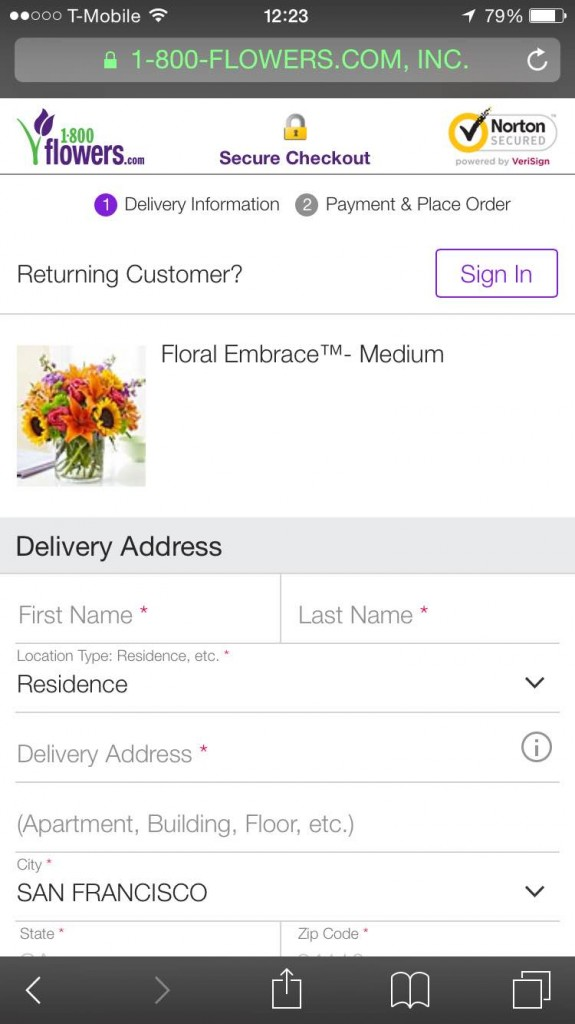 1800 flowers mobile checkout