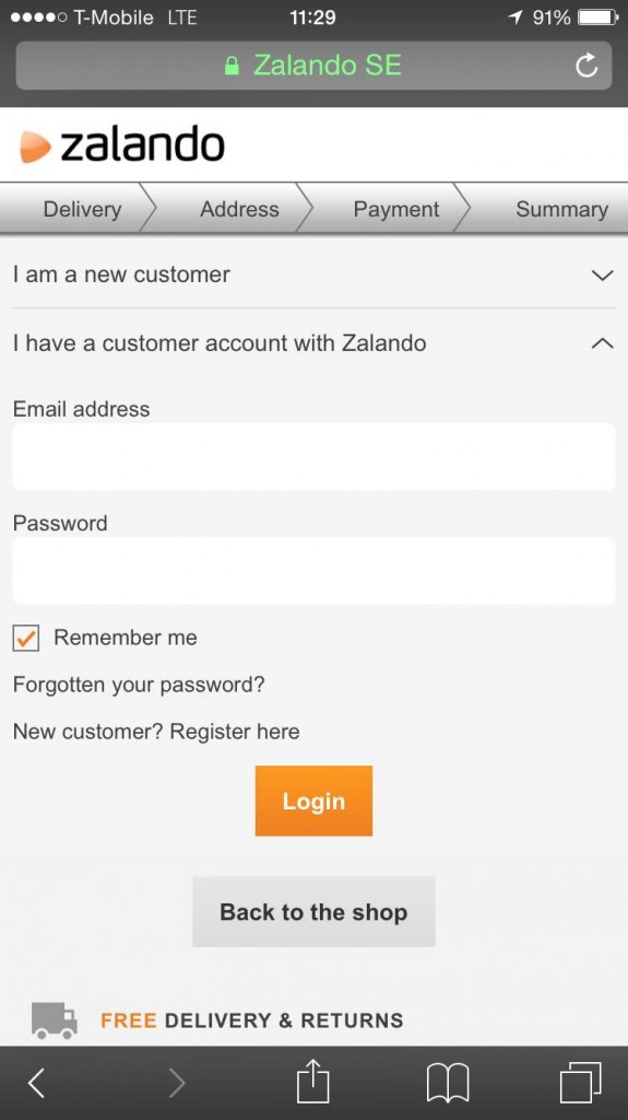 Zalando mobile checkout