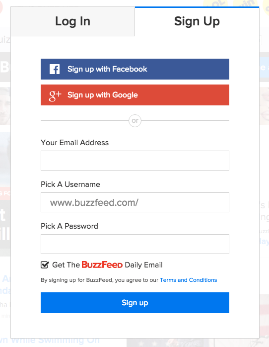 Buzzfeed allows users to connect with Facebook and with Google+ along with creating a unique account with their email (buzzfeed.com)