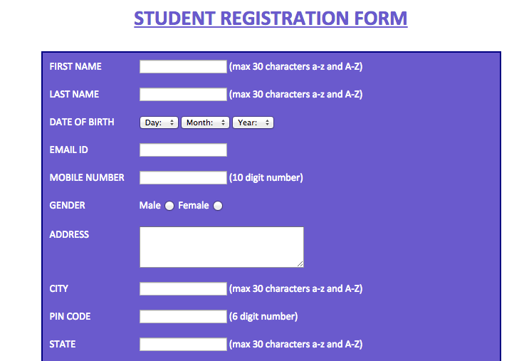 Student Registration Form Help Example