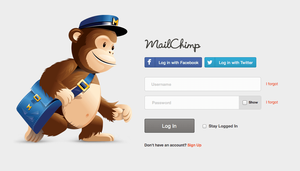 Mailchimp uses their mascot to help point you to exactly where they want you - registration!