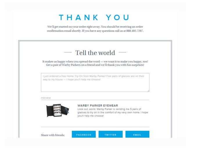 Warby Parkers Thank You Page