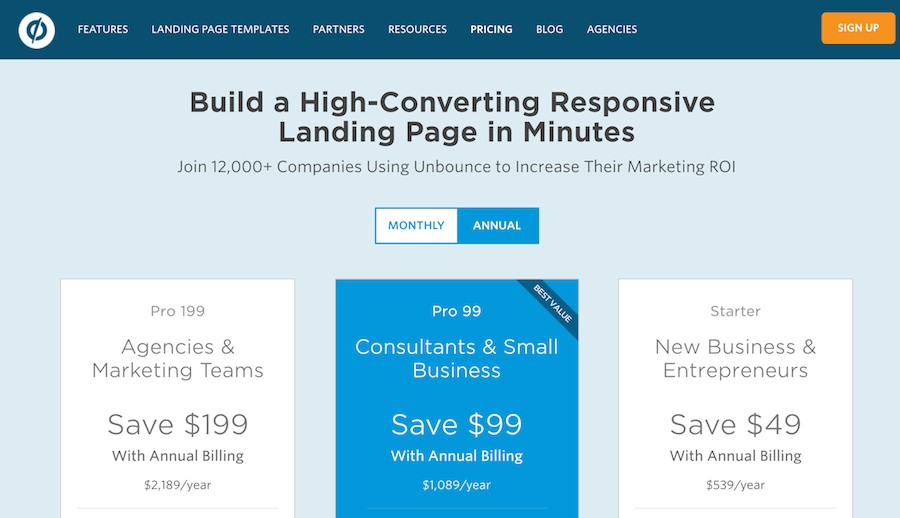 unbounce annual pricing plans