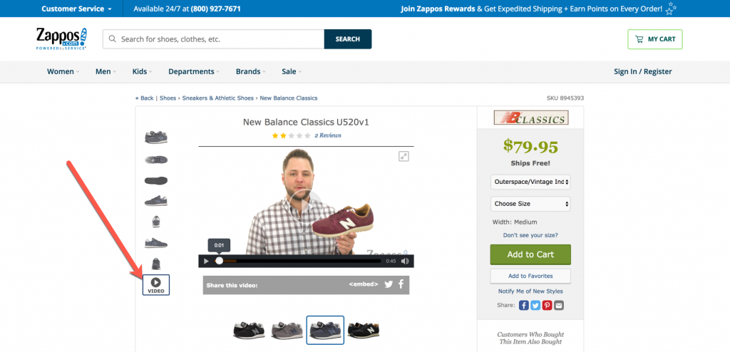 zappos uses video